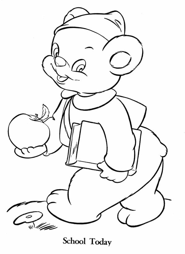 Teddy Bear Coloring pages | School Bear