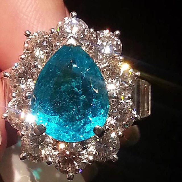 #Paraiba tourmaline & diamond ring~