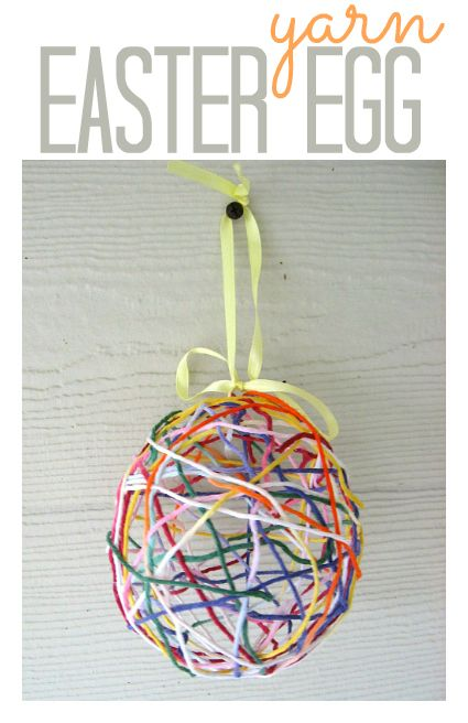 Yarn easter egg craft for kids