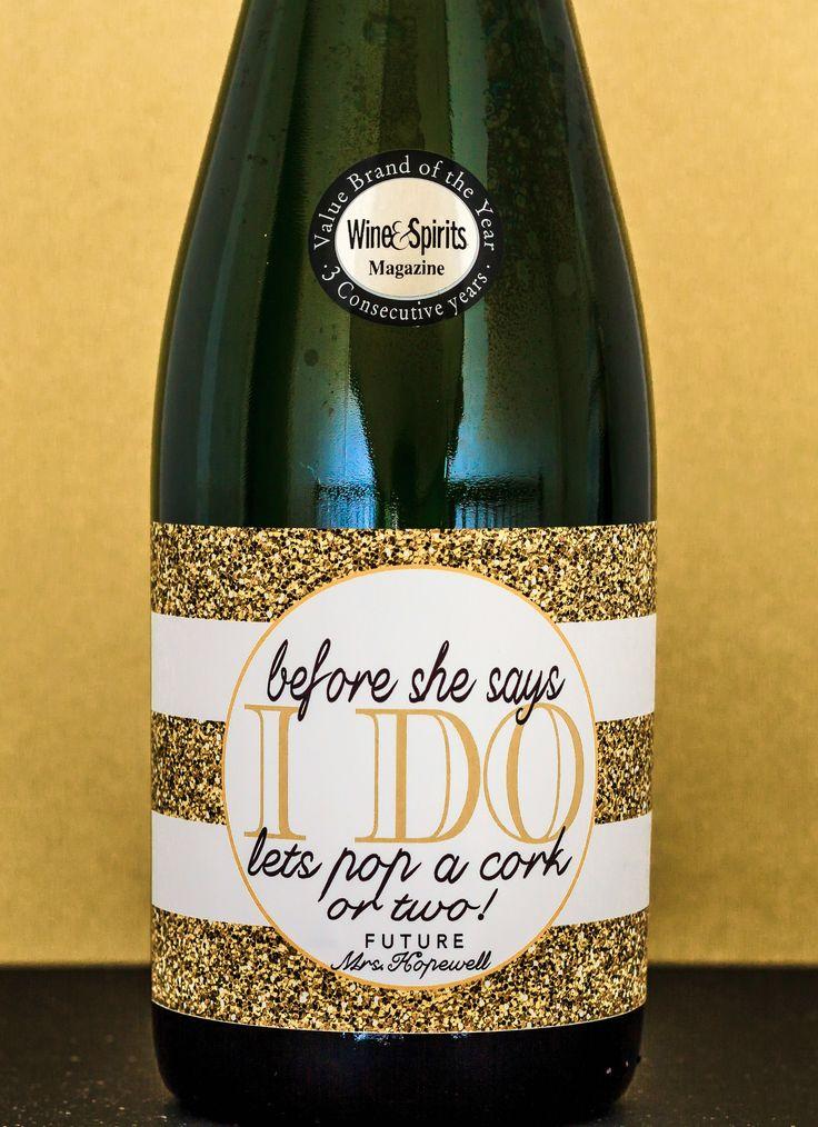 Gold Bachelorette Champagne Label. Glitter Bachelorette Party Decoration. Bachelorette Favor. Party Idea. Before She Says I Do Bottle Label