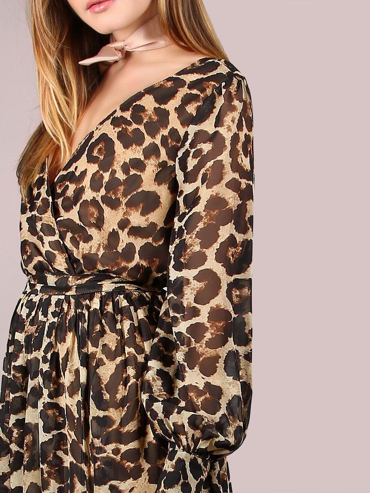 Модное шифоновое макси платье с леопардовым принтом