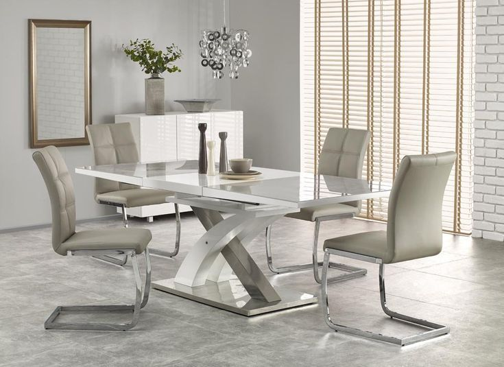 Sandor 2 160 220 Cm Grey Glass White High Gloss Modern Ext
