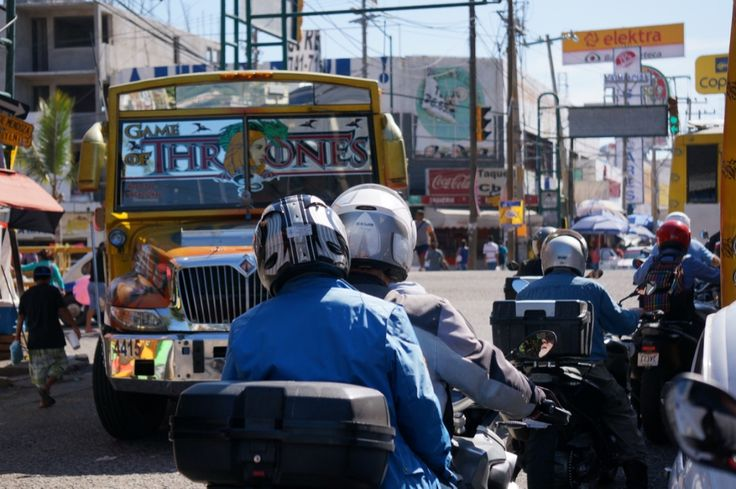 """Richard and Kim negotiate chaotic Acapulco traffic. See all the stories about that motorcycling nirvana called Mexico on our Ferris Wheels Motorcycle Safaris Tacos 'n' Tequila tour. Just go to motorbike writer.com and search for """"Mexico""""."""