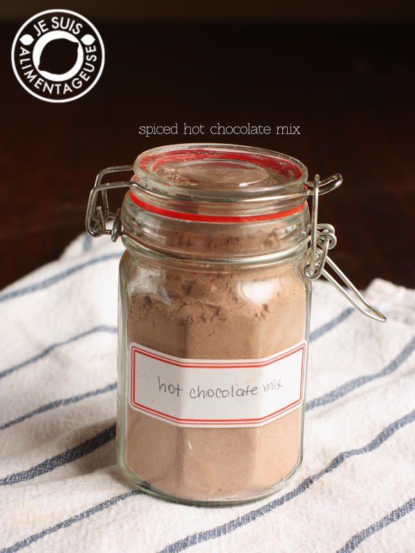 Spiced Hot Chocolate Mix | alimentageuse.com #hotchocolate #chocolate #fall #gift #DIY