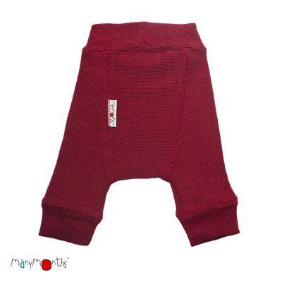 Manymonths Wool Hour Longies Diaper Pants, Raspberry Red