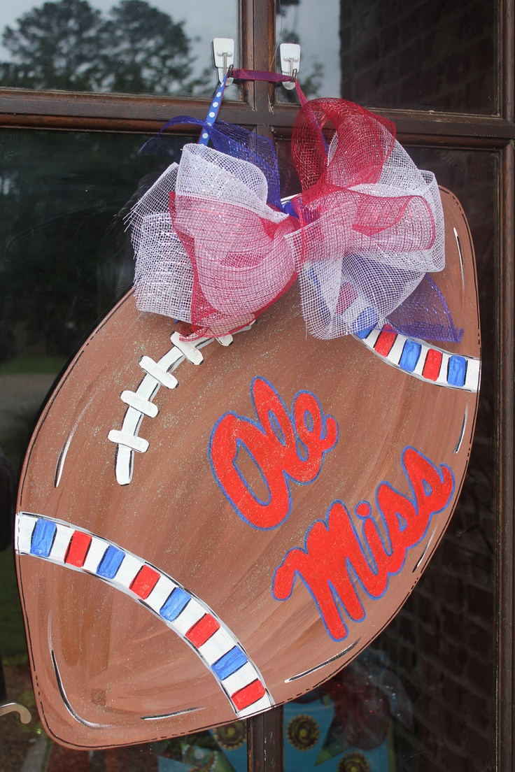 This wooden Ole Miss football would be great door decor for homecoming this weekend.
