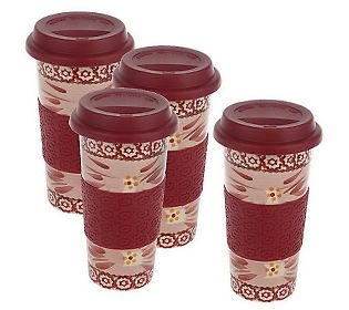 Temp-tations Old World Set of 4 Travel Mugs w/Silicone Grip - QVC.com