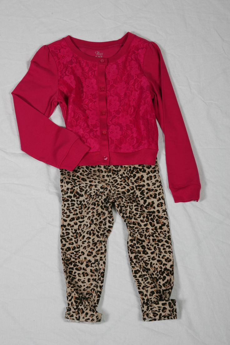 Leopard Jeggings & Pink Floral Cardigan both available @ Children's Place for $24.95