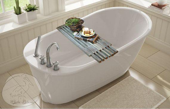 Reclaimed Wood Bathtub Tray  Farmhouse Bathtub by RusticPelican