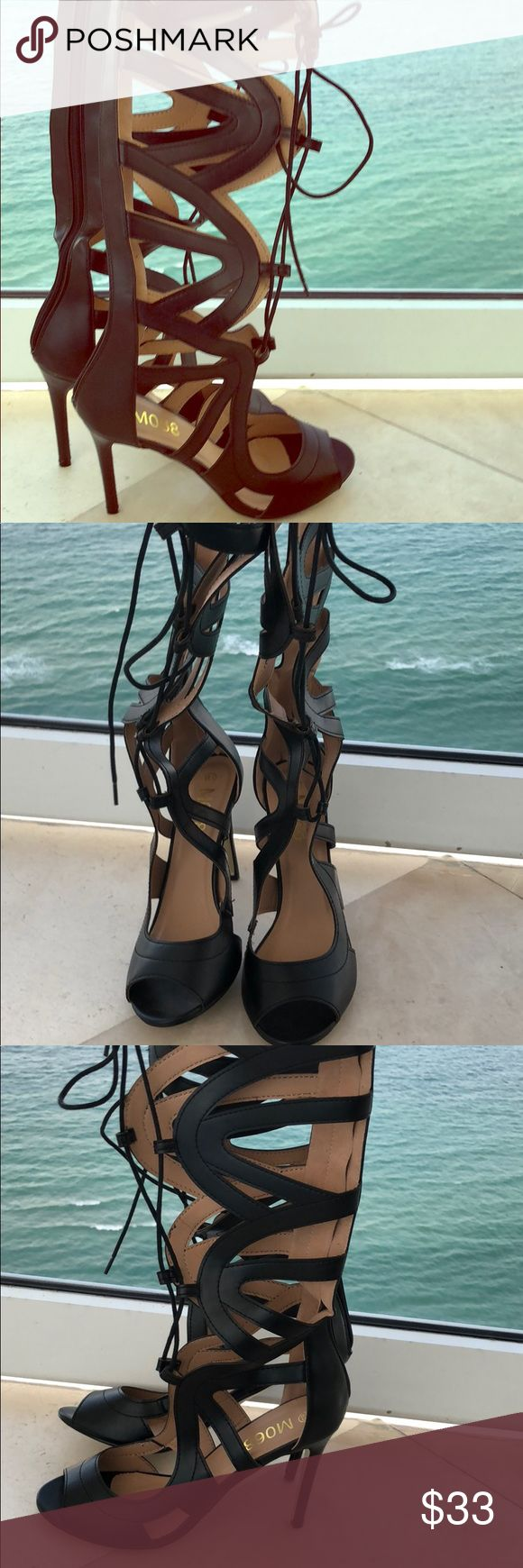 Tall Black Gladiator Lace Up Heels Tall Black Gladiator Lace Up Heels Goes up the calves to give a sexy look!  Brand NEW, Never been worn  Size 8.5  Measurements available upon request Shoes Heels