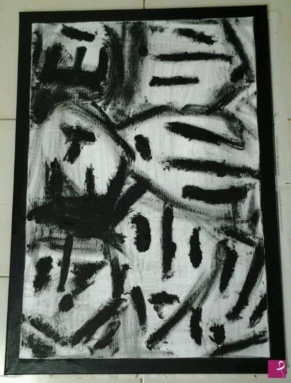 """Cornice"" Black acrylic on canvas 50x70 - 2013"