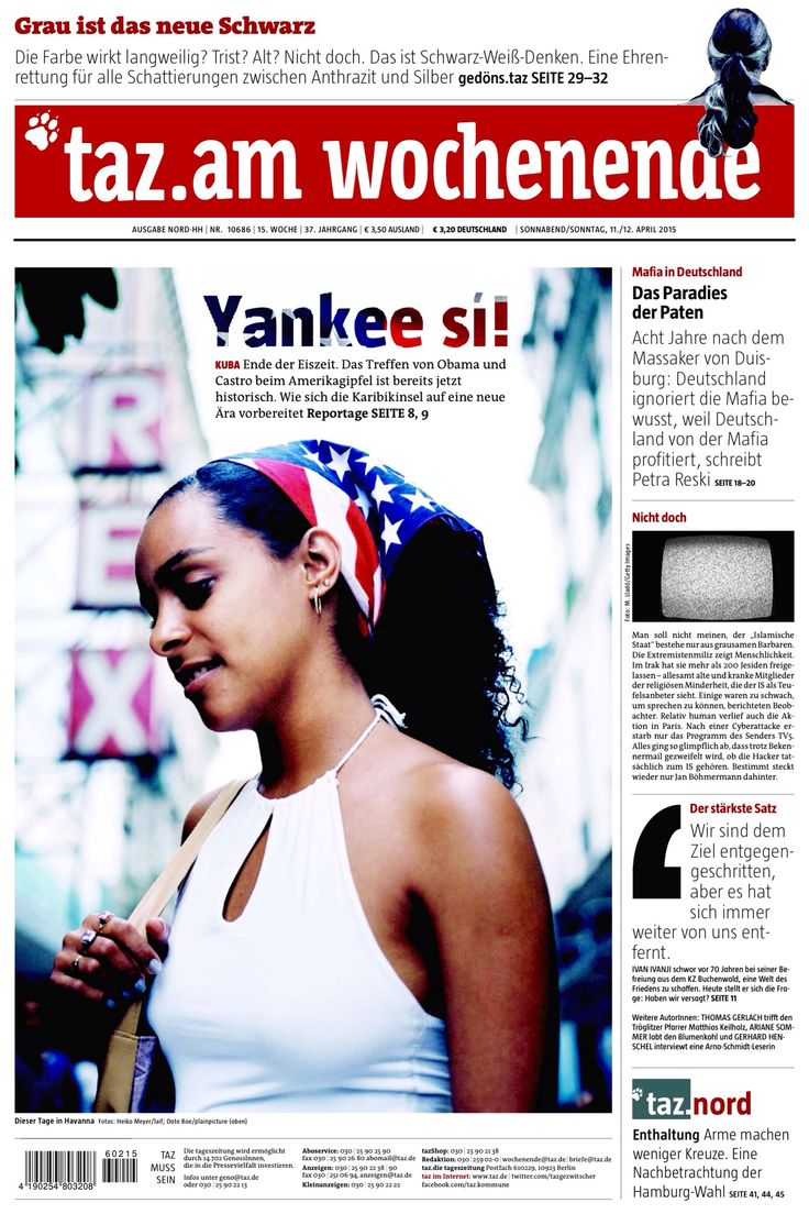 DIE TAGESZEITUNG (April11,2015) Published in Berlin, Germany