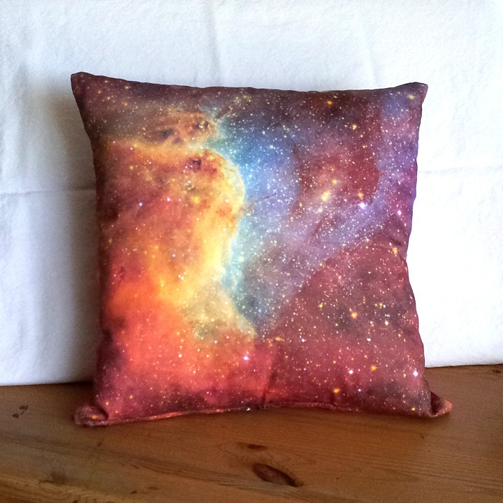 Clearance orange blue nebula galaxy pillow cover nasa for Red space fabric