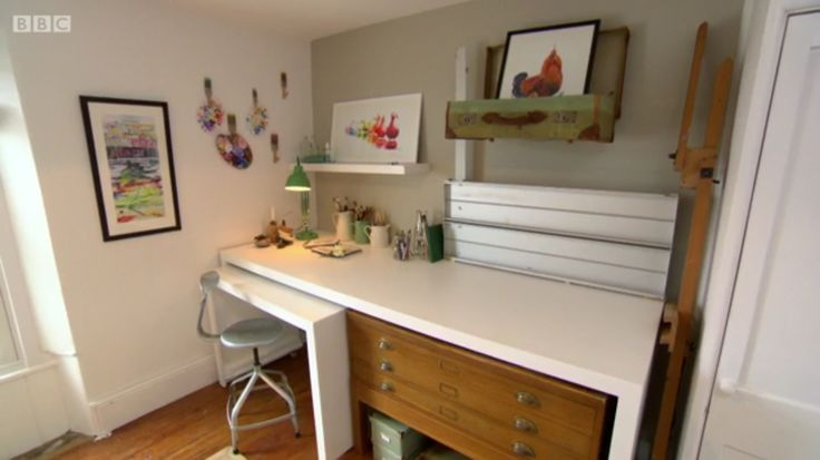 Fantastic use of old & modern in a work desk. From BB2 The Great Interior Design Challenge