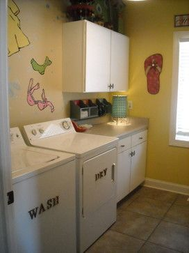 Eclectic Laundry Design Ideas, Pictures, Remodel and Decor like the words wash and dry on the appliances