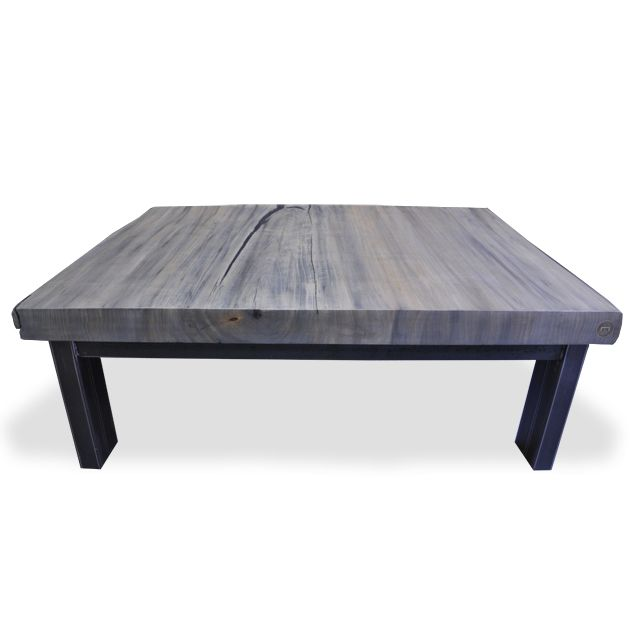 Reclaimed Wood Live Edge Poplar Coffee Table With A Hot Rolled Steel Base To See
