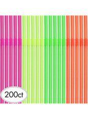 Neon Flexible Straws 200ct