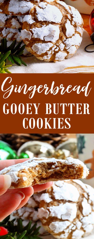 Gingerbread Gooey Butter Cookies #christmas #cookies #christmascookies