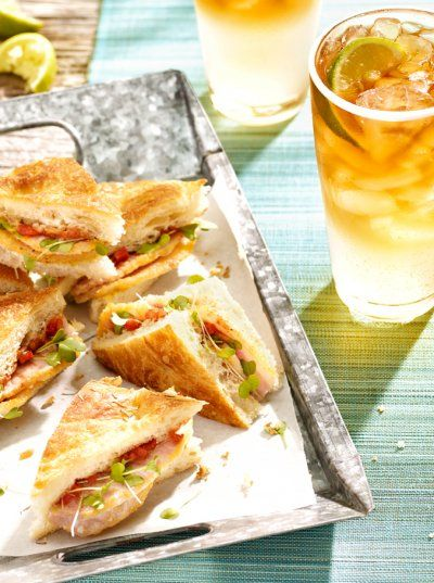 Sandwiches cut down small are super easy to make and handle when juggling a drink in the other hand. Shot by Steve Krug