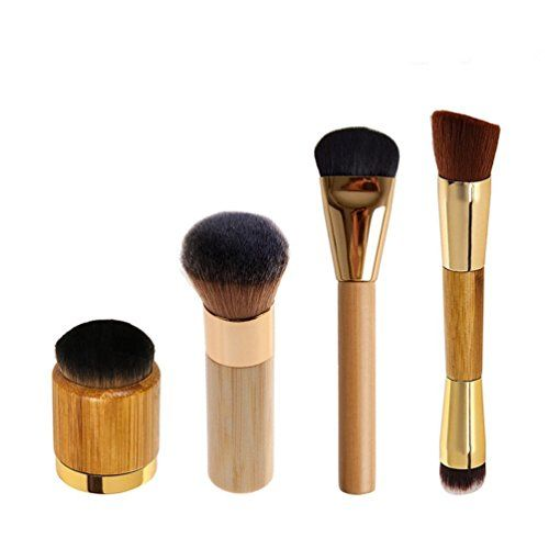 Ubeauty 2016 Professional Ecofriendly Bamboo Handle Face  Body Flat and Angled FoundationBlushLoose PowderBronzerHighlighterConcealer Contour Buffing Brush 4Pcs Bamboo Brush -- Be sure to check out this awesome product.