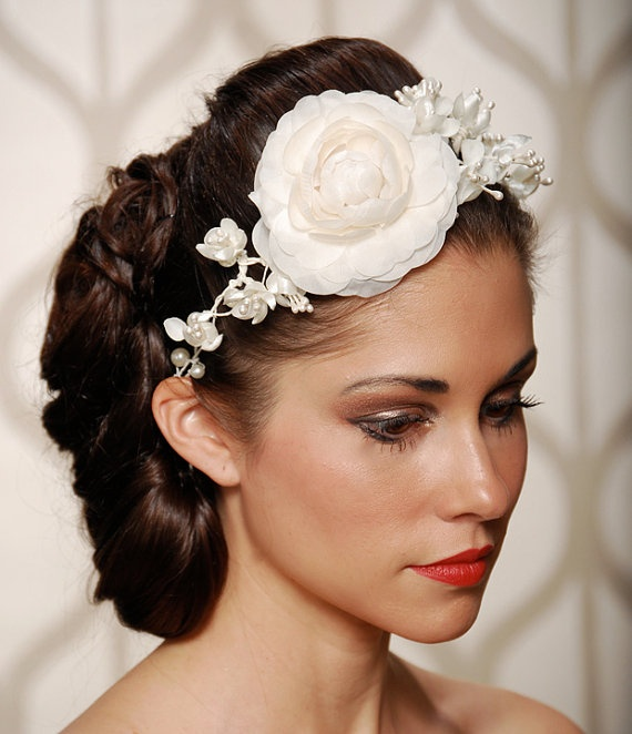 Ivory Camellia Wedding Flower Hair Crown Vintage by gildedshadows, $68.00