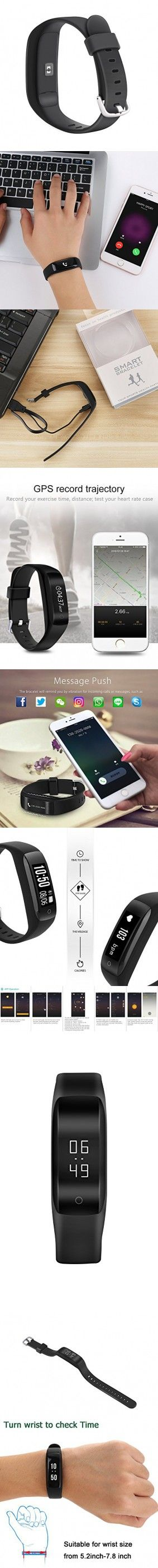 Ansbo Smart Wristband Smart Bracelet Bluetooth Band With Fitness Tracker With Heart Rate Pedometer Calorie Step Distance Sleep Monitor Call Message Remind For Android and IOS Smartphone