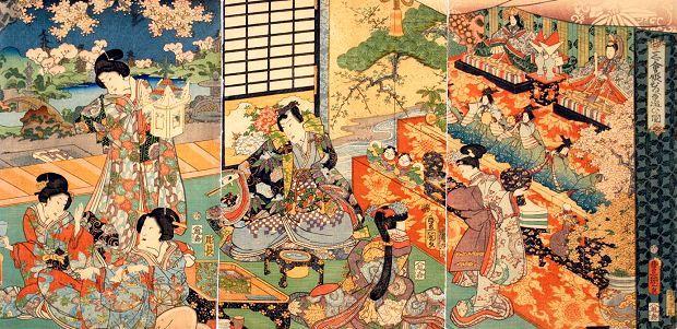 ひなまつり図 文久元年(1861)  歌川豊国(三世)画 虎屋文庫所蔵