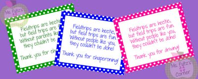 Field trip thank you notes for chaperones and the bus driver.