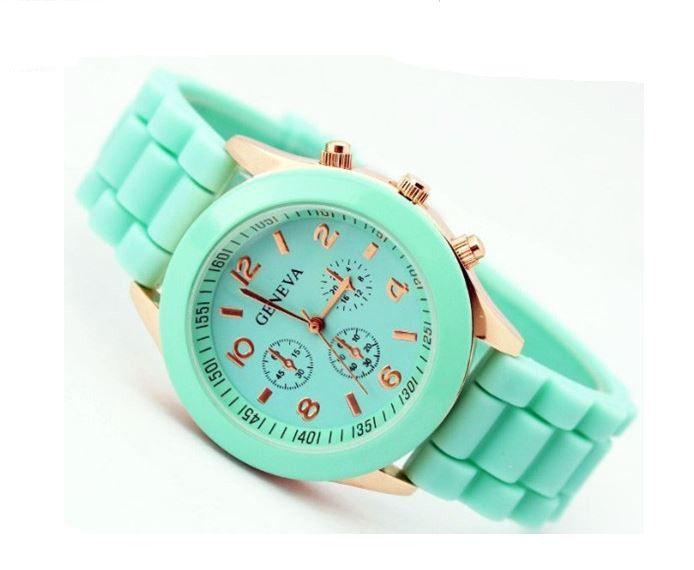 Montre quartz bracelet silicone vert menthe