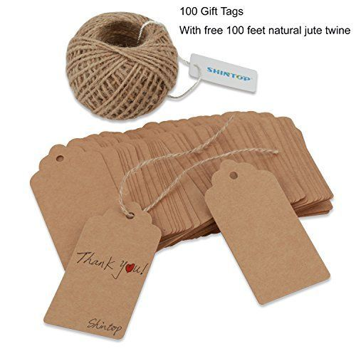 Shintop 100PCS Kraft Paper Gift Tags Bonbonniere Favor Re