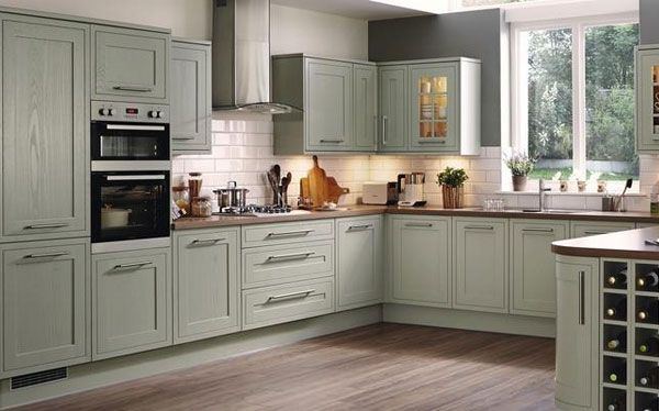 I love the framed, in white with cup handles and oak worktop. Needs to still look modern and not too cottagey