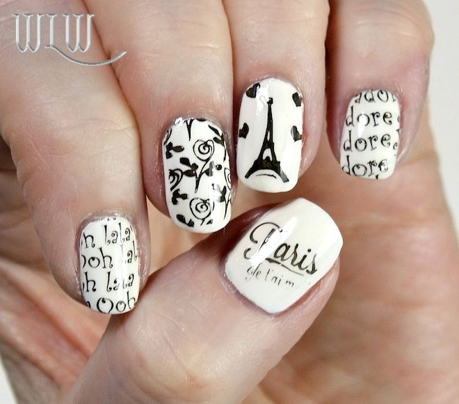 """Lola's black & white Paris mani: MoYou """"White Knight"""" stamped with Wet 'n Wild """"Black Créme"""", MoYou Tourist 21 and Born Pretty BP06 image plates. Seche Vite top coat."""