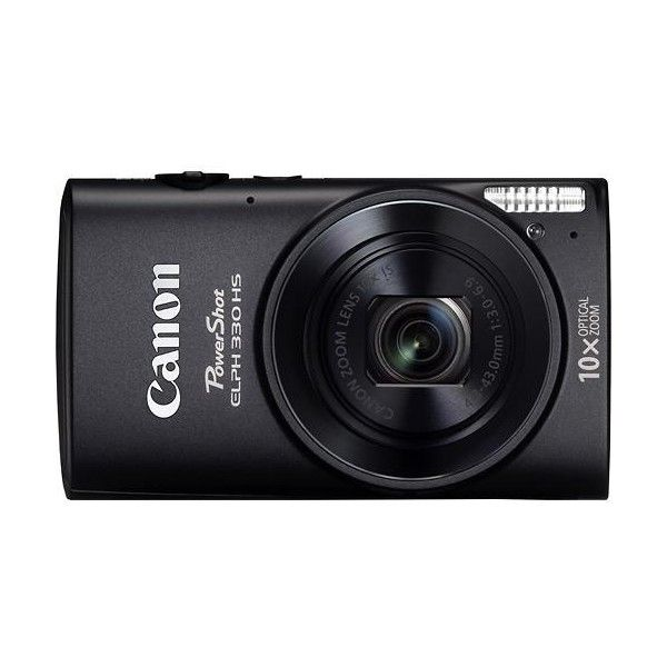 Canon PowerShot ELPH 330 HS 12.1-Megapixel Digital Camera Black ($140) ❤ liked on Polyvore featuring camera, fillers, black, black and white and electronics