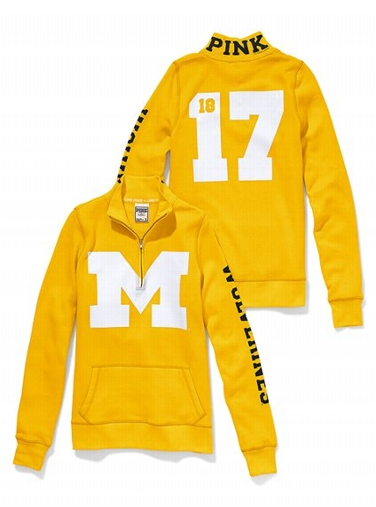 University of Michigan Half-Zip Pullover - Victoria's Secret PINK - Victoria's Secret. Want this so bad!!