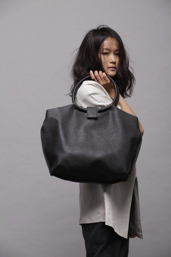 Black leather bag Soft leather tote bag Nina by LadyBirdesign