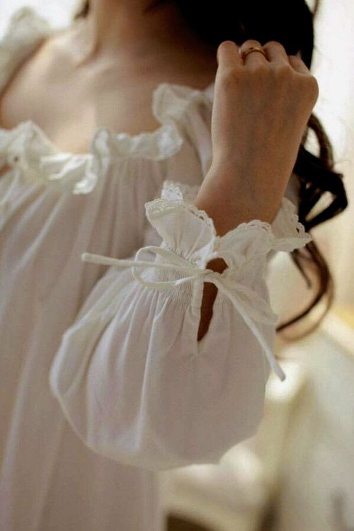 Victorian-style White Cotton Nightgown with Lacy Frilled Neckline & Cuffs  ....
