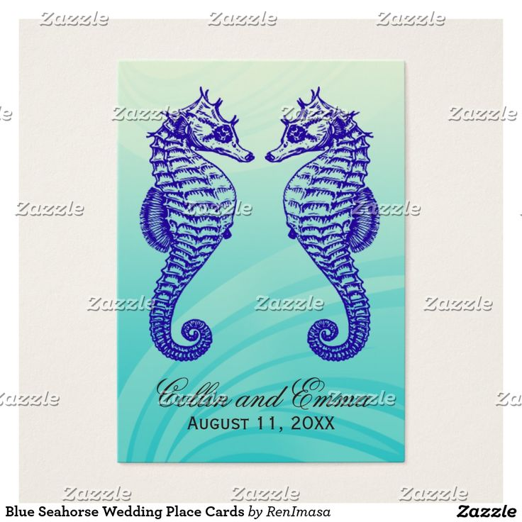 Blue Seahorse Wedding Place Cards