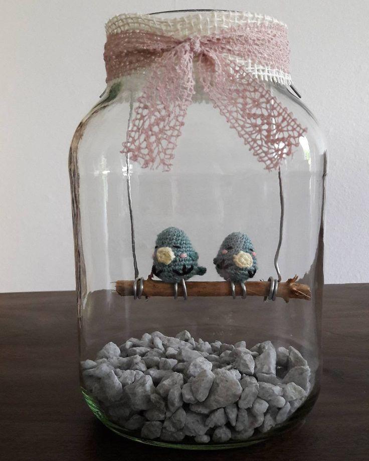 creative_monschi:: Jetzt sitzen Turtel und Täubchen gemeinsam auf der Stange Nun muss ich nur noch Herzen aus Geld falten und das Geschenk ist fertig. Das Glas ist übrigens ein großes Glas wo Rotkohl drin war. Einfach mal bei Restaurants fragen. Die gucken nur blöd wenn man nach Altglas fragt Die Gläser eignen sich hervorragend für sämtliche Dekorationen Bepflanzungen und Geschenke. #häkeln #crochet #simplyhäkeln #amigurumi #häkelglück #handmade #simplykreativ #selbstgemacht #häkelnistt...