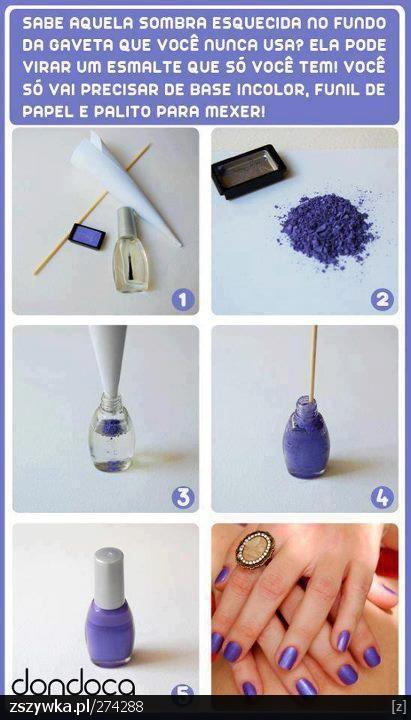 eye shadow DIY nail polish...I wonder if you could mix colors? Like blue and purple