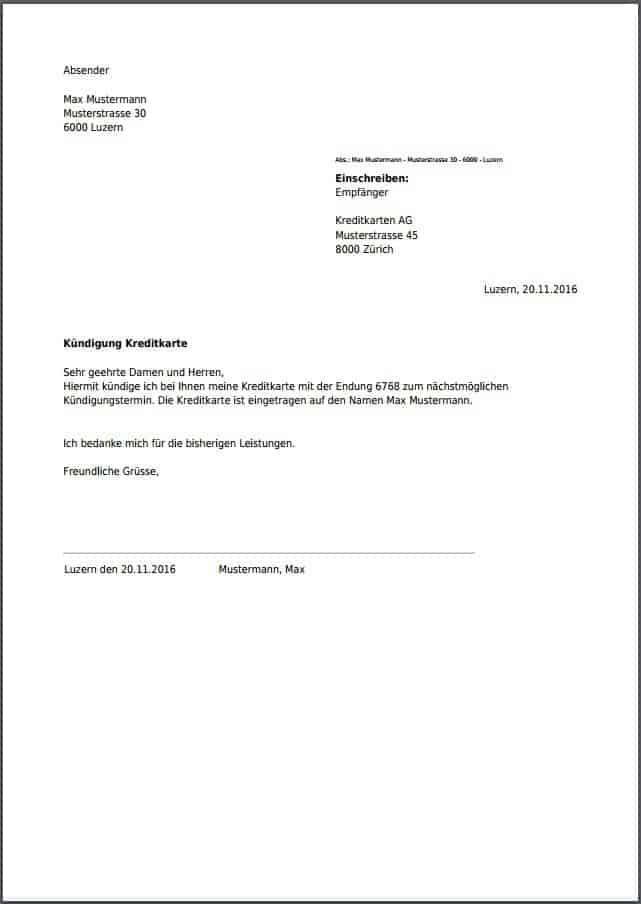 Kundigung Kreditkarte Schweiz In 2020 Vorlagen Kundigung Schreiben Kreditkarte