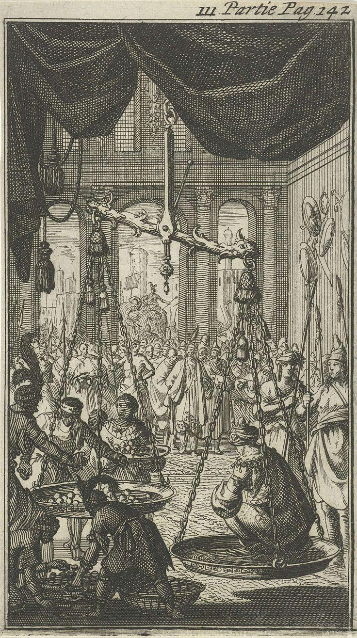Jan Luyken | Koning van Delhi op zijn geboortedag in een weegschaal gewogen, Jan Luyken, Charles Angot, 1689 | Prent rechtsboven gemerkt: III. Partie Pag. 142.