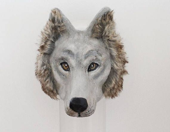 Wolf Mask Made to Order Paper Mache Black Or White Lykos Wolf