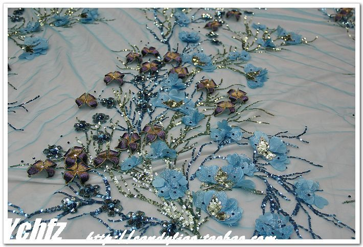 Approx $20 bunch of flowers or $40 per metre. Azure dimensional flower the best embroidered gauze embroidered clothing cheongsam the DIY fabric fabric lace - Taobao
