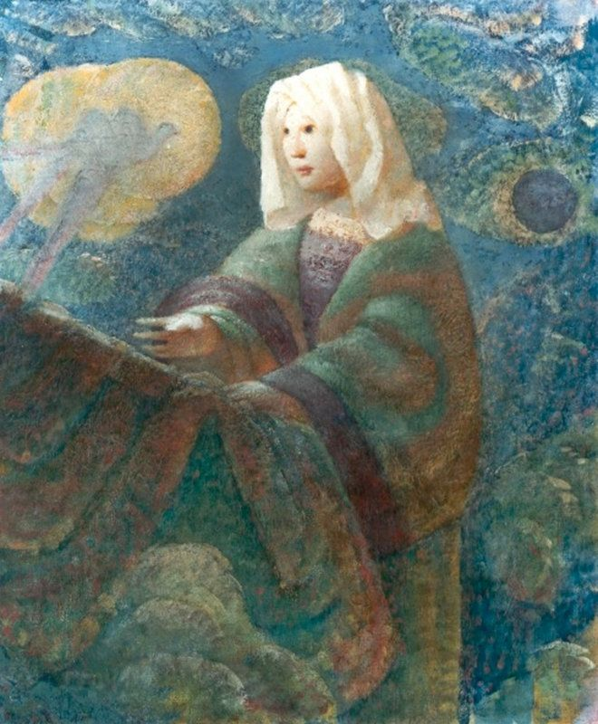 """In Images: Solar Eclipses Depicted in Fine Art Twentieth-century American artist Carl Schmitt often incorporated dark clouds ringed with light into his paintings, according to an essay published in 2007 by his son Carl Schmitt Jr., in the literary magazine """"Dappled Things."""" """"The small #eclipse shown in the painting, to the Virgin's left, serves as a sign for the eclipse of the Incarnation,"""" Schmitt wrote in the essay."""