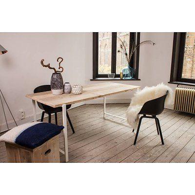 PURE Wood Design Industriële tafel steigerhout zwevend blad/stalen frame