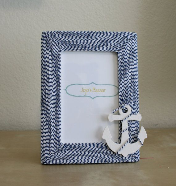 Nautical Anchor Picture Frame in Navy and White Twine on Etsy, $15.00