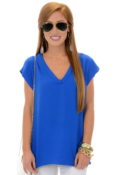 Grant Park Top, Blue :: NEW ARRIVALS :: The Blue Door Boutique