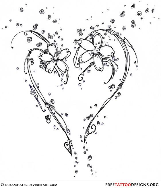 Simple black tribal heart tattoo design (ideal for the lower back)