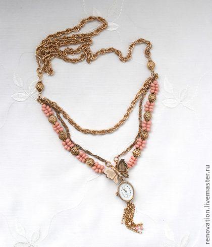 механические часы на ожерелье из винтажных цепей - коралловый,золотой цвет