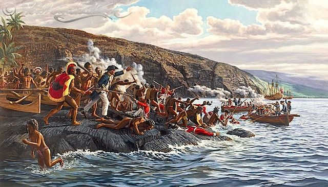 Moment when Captain James Cook was killed: Herb Kawainui Kane -Kane thoroughly researched the historical setting for accuracy in his details.